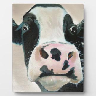Black and white cow face portrait painting plaque