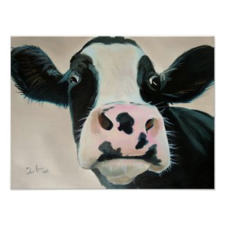Black and white cow face portrait painting poster