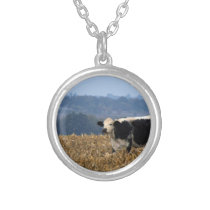Black and White Cow grazes in freshly plowed field Silver Plated Necklace