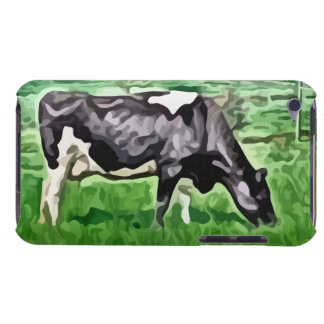 Black and white cow grazing painting. iPod touch cover