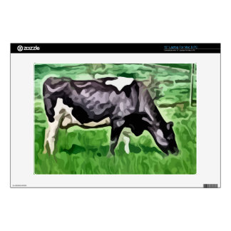 Black and white cow grazing painting decal for laptop