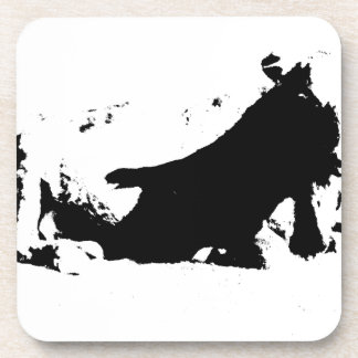 Black and White Cow in Ink Beverage Coasters