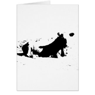 Black and White Cow in Ink Card