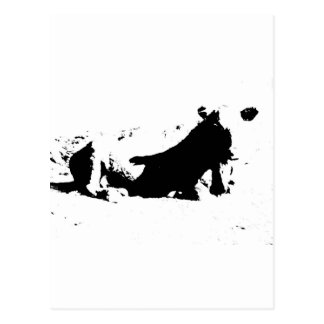 Black and White Cow in Ink Postcard