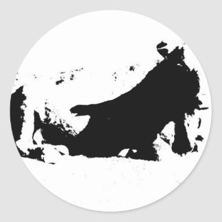 Black and White Cow in Ink Stickers