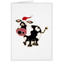 Black and White Cow in Santa Hat Card