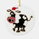 Black and White Cow in Santa Hat Ceramic Ornament