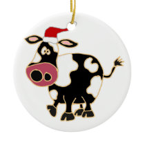 Black and White Cow in Santa Hat Ceramic Ornament