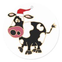 Black and White Cow in Santa Hat Classic Round Sticker