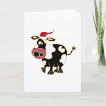 Black and White Cow in Santa Hat Holiday Card