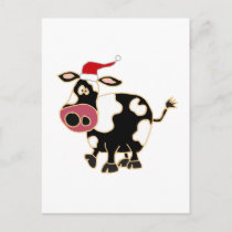 Black and White Cow in Santa Hat Holiday Postcard