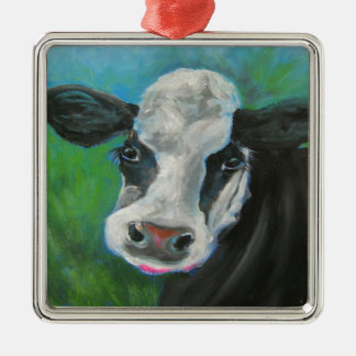 Black and White Cow Metal Ornament