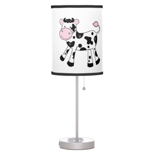 Black and White Cow Nursery Lamp