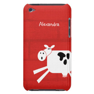 Black and White Cow On Red Barn Personalized Name Barely There iPod Case