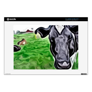 black and white cow painting. laptop skins