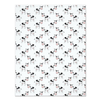 Black and White Cow Pattern. 4.25x5.5 Paper Invitation Card