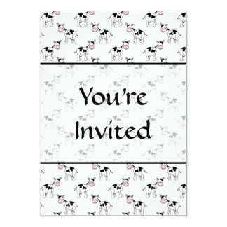 Black and White Cow Pattern. 5x7 Paper Invitation Card