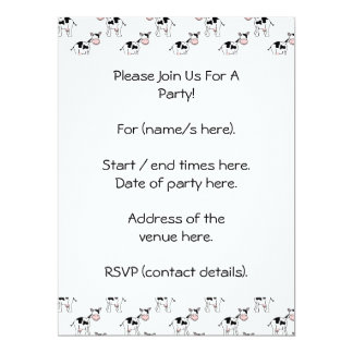 Black and White Cow Pattern. 6.5x8.75 Paper Invitation Card