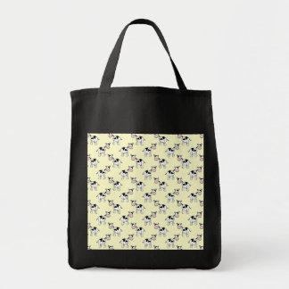 Black and White Cow Pattern on Light Yellow Bag
