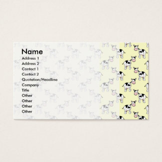 Black and White Cow Pattern on Light Yellow Business Card