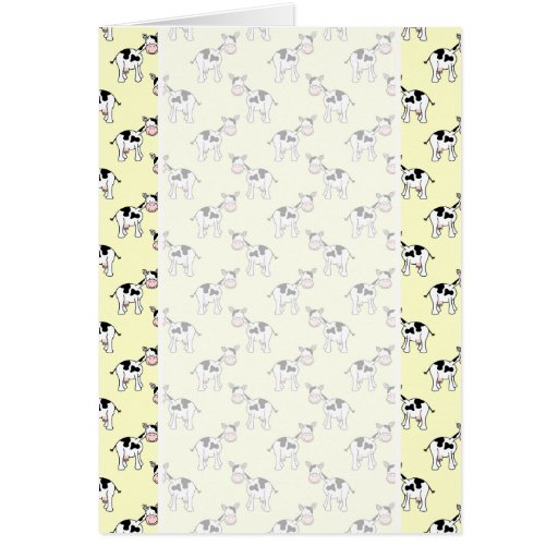 Black and White Cow Pattern on Light Yellow Card