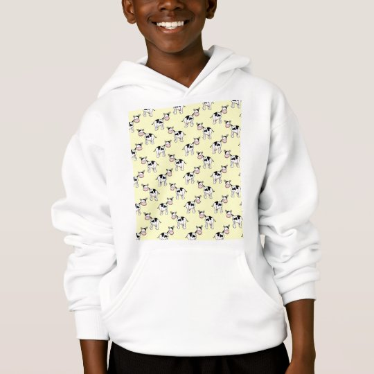 Black and White Cow Pattern on Light Yellow Hoodie
