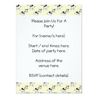 Black and White Cow Pattern on Light Yellow 6.5x8.75 Paper Invitation Card