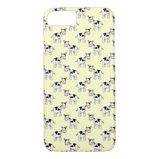 Black and White Cow Pattern on Light Yellow iPhone 7 Case