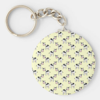 Black and White Cow Pattern on Light Yellow Keychain