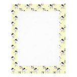 Black and White Cow Pattern on Light Yellow Letterhead