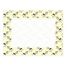 Black and White Cow Pattern on Light Yellow Postcard