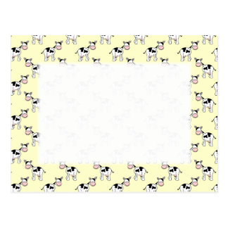 Black and White Cow Pattern on Light Yellow Post Cards