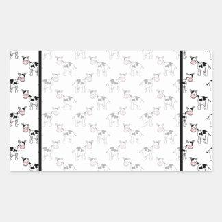 Black and White Cow Pattern. Rectangular Sticker