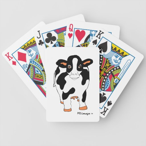 Black and White Cow Playing Cards