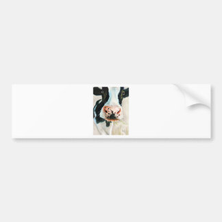 Black and white cow portrait painting bumper sticker
