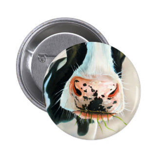 Black and white cow portrait painting button