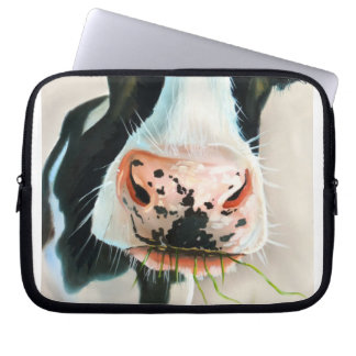Black and white cow portrait painting computer sleeve