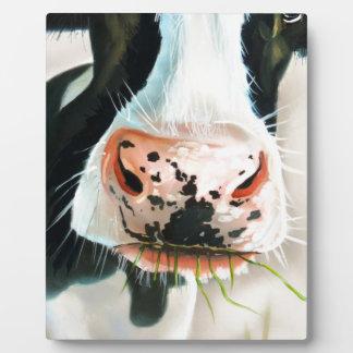 Black and white cow portrait painting plaque