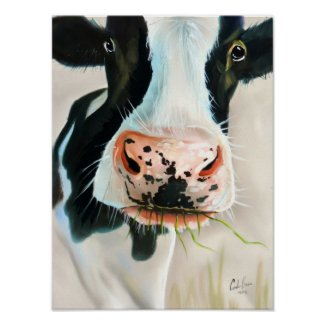 Black and white cow portrait painting poster