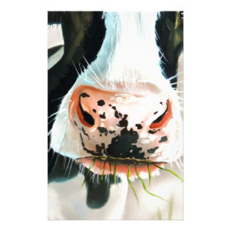 Black and white cow portrait painting stationery