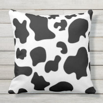 Black and White Cow Print Outdoor Pillow