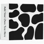 Black and White Cow Print Pattern. 3 Ring Binder