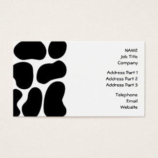 Black and White Cow Print Pattern. Business Card