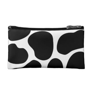 Black and White Cow Print Pattern. Cosmetic Bag