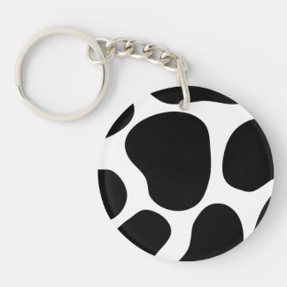Black and White Cow Print Pattern. Double-Sided Round Acrylic Keychain