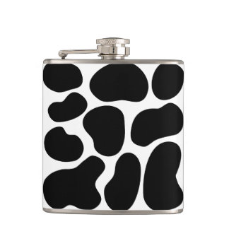 Black and White Cow Print Pattern. Flask