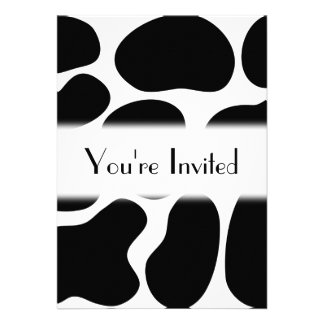 Black and White Cow Print Pattern Invitation