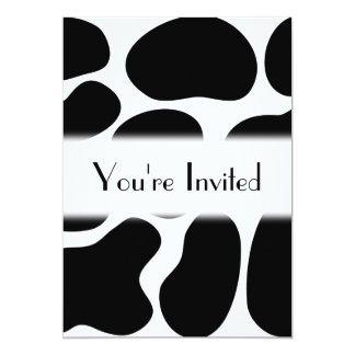 Black and White Cow Print Pattern. 5x7 Paper Invitation Card