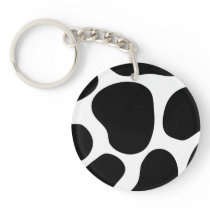Black and White Cow Print Pattern. Keychain