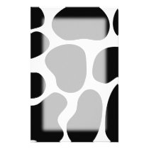 Black and White Cow Print Pattern. Stationery
